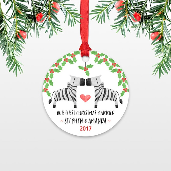 Zebra Personalized First Christmas Ornament Couple, Our First Christmas Engaged, 1st First Christmas Married, First Christmas Together