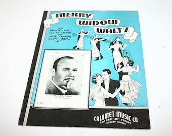 Vintage sheet music for piano, vocal and Hawaiian guitar solo for Merry Widow Waltz 1935