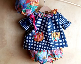 Newborn summer dress and shorts  blue outfit colorful Liberty cotton baby girl , baby shower gift, boho matching outfit kawaii made in Italy
