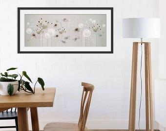 Floral Art Print. Flower Print. Flower Painting. Floral Painting. Neutral Flowers. Dandelion Print. Wall Art. Wall Decor
