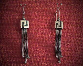 Ancient Greek Meander Drop Earrings Sterling Silver 925 With Byzantine Chains