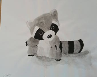Stuffed Raccoon--Original Painting 2013