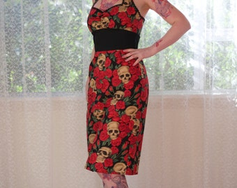 Rockabilly 'Naomi' Rose and Skull Wiggle Dress with Gathered Front, Ric Rac Trim, Pencil Skirt and Black Pleat - Custom made to fit