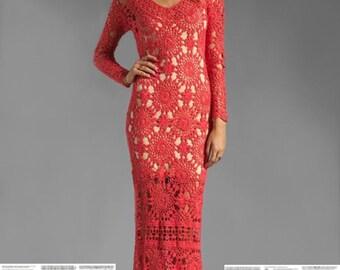 Maxi crochet dress PATTERN, detailed tutorial in ENGLISH (every row) designer crochet dress PATTERN Eternal Sunshine Creations crochet dress