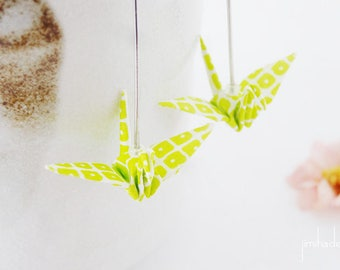Earrings origami crane anise and white japanese patterns, folded paper