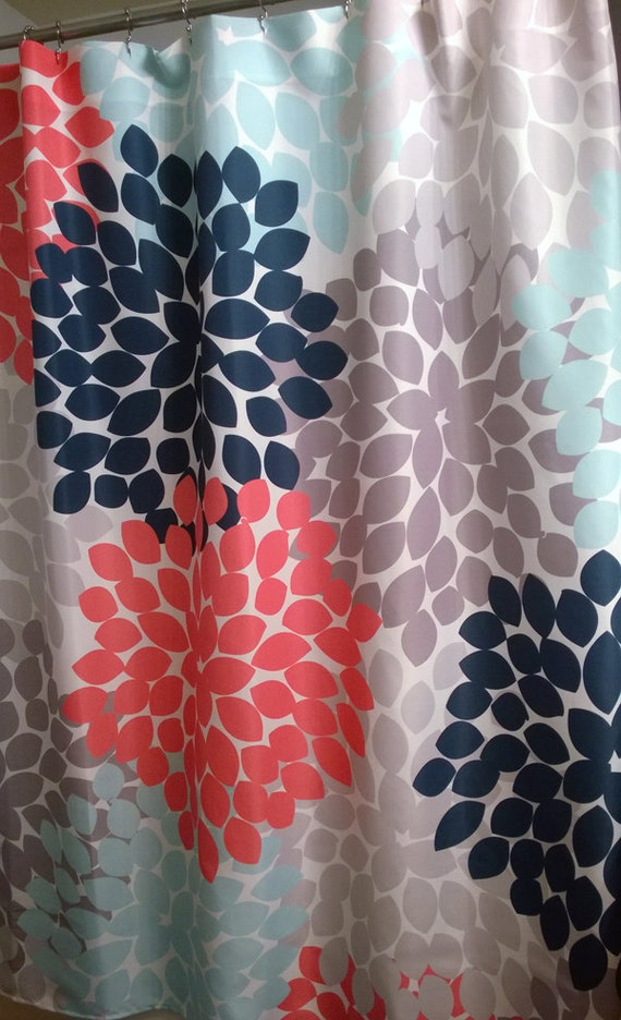 extra brown and red shower curtain. Floral Shower Curtain in trending Navy  Coral Aqua and Gray Regular Extra Long Lengths 70 74 78 84 96 inches Our Best Seller
