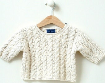 NEW 8-12m 1-2 years baby sweater KNITTING PATTERN - 'mini cable'