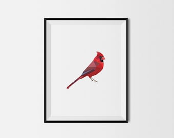 Geometric Art Print, Nursery Art, Baby Room Art, Cardinal Art Print, Minimal Art Print