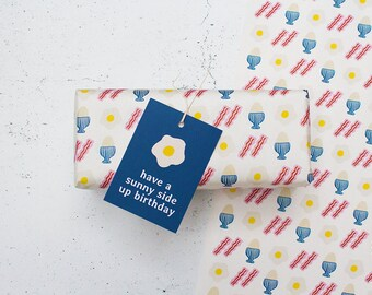 Egg & Bcon Wrapping Paper - A2 Sheets, Eco Gift Wrap