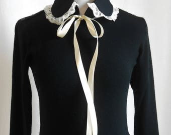 Black Detachable Peter Pan Collar with Cream Lace, Vintage Inspired Removable Collar