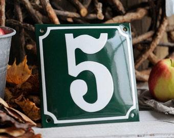 "Enamel House Number  5 7/8"" x 5 7/8"" (15 x 15 cm)"