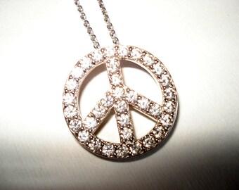 SALE Vintage Platinum over 925 Sterling 1960's Peace Sign Pendant Chain Necklace