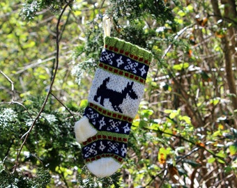 Dog Christmas stocking, Fair Isle Dog Christmas Stocking, Knit Christmas stocking, Green Ornament, Fairisle Christmas, - ready to ship SRGRB