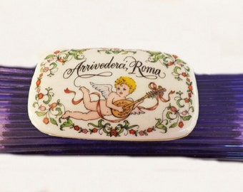 Vintage Franklin Porcelain Music Box, Arrivederci Roma Music, Made in Japan, Home and Office Decor, Vintage Collectible, Porcelain Box