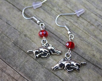 University of Arkansas Razorback earrings, Razorback earrings,  Arkansas charm, Hogs earrings, U of Arkansas