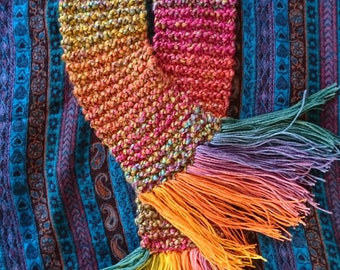Vegan hand knitted rainbow scarf