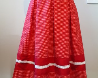 Vintage style skirt/red polka dot skirt/Size XL
