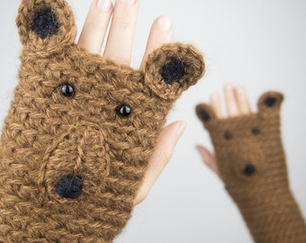 Bear Fingerless Gloves ~ Handmade