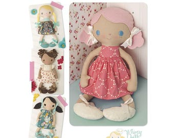 CLOTH DOLL PATTERN / Soft - Plush - Stuffed 15 Inch Tall Dolls With Clothes - Shoes! Four Styles