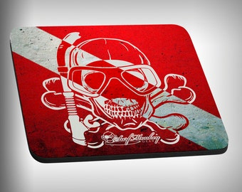 Free Dive Skull Mouse Pad Custom Graphic Novelty Mousepad Great Gift Customized Personalized