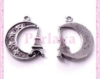 Set of 15 REF450X3 silver eiffel tower charms