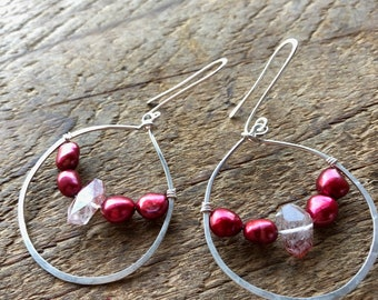 Self Love - Lepidocrocite and Red Pearl 'Glass Half Full' earrings.
