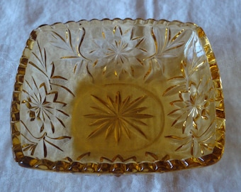 Vintage Amber Glass Dish
