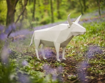 Ox Bull Papercraft Template Instant Download