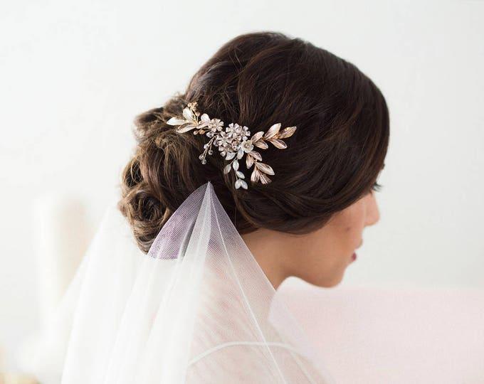 Rose Gold Hair Vine, Bridal Headpiece, Wedding Hair Vine, Flower Hair Comb, Opal Crystal Hair Vine, Flower Hairpiece, Rose gold Leaf Comb