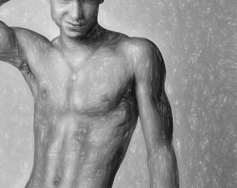 The Smirk Gay Art Male Art Digital Download JPG by Michael Taggart Photography muscle muscles muscular strong abs torso