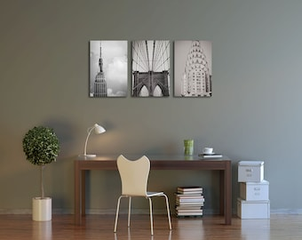 Set of 3 Gallery Wrap Canvas Black and White Iconic New York City Buildings Architecture Empire State Building Brooklyn Bridge Chrysler
