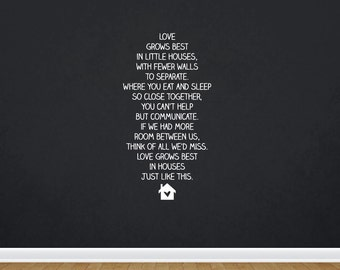 Love Grows Best In Little Houses Like This   Quote   Wall Decal   Removable Decor   DIY Sign 2151