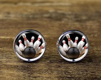 Bowling cufflinks, Sports cufflinks, Bowling jewelry