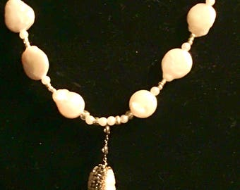 Fresh Water Pearl with Swarovski Crystals Necklace