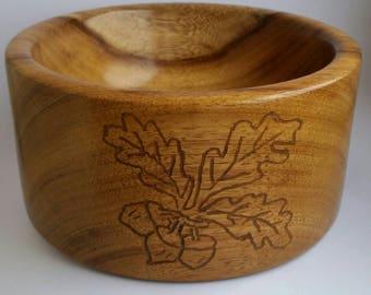 Oak Bowl with Carved Acorn& Leaf Detail