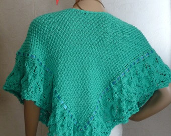 wool and silk, Emerald, hand knit shawl pattern timeless soft.