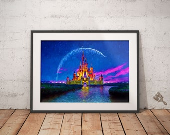 Cinderella Castle Print, Colorful Painting