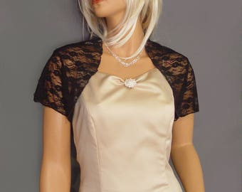 Lace bolero jacket shrug bridal wedding short sleeve wrap cover up LBA300 AVAILABLE IN black and 4 other COLORS small through plus size!