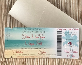 Beach boarding pass invitation. Tropical Beach Wedding invitation. Dominican Republic save the date