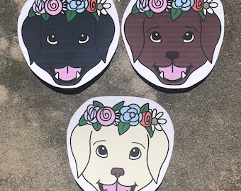 Flower Crown Labrador Dog Sticker
