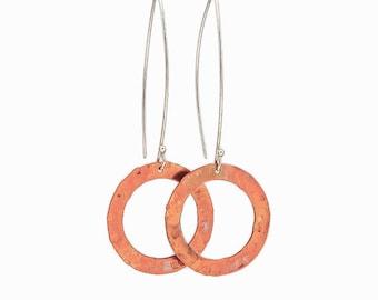 Long Mixed Metal Dangle Earrings - Sterling Silver & Copper Earrings - Minimalist Earrings - Statement Earrings - Circle Earrings - Boho