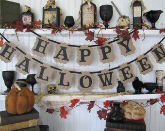 HAPPY HALLOWEEN Banner, Halloween Sign, Halloween Decoration, Fall Decoration, Autumn Decor