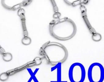 100 x 60 mm mesh snake Keychain silver key Keyring