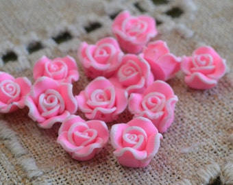 6pcs Polymer Clay Polyclay Bead Flower 11mm Pink Rose