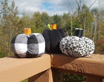 Halloween Fabric Pumpkins - Black and White