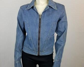 Vintage 70s Faded Glory Womens Jean Jacket Sz 38 11-13 Zip Up Cuffs 100% Cotton