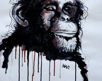 Chimp ink drawing
