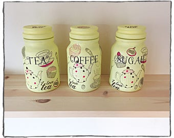 Lemon tea lovers tea caddy set, 3 piece set, tea, coffee and sugar jars, kitchen jars, I love tea, cupcakes, teapot, kitchen decor