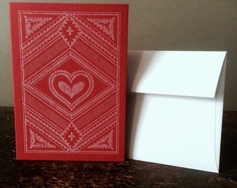 Letterpress Valentines Day Card - Pale Pink on Red