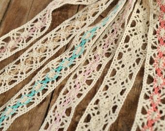 Crochet Lace Ribbon Lace Trim Crochet Ribbon Crochet Trim Ribbon Crochet Lace Trim Embellishment Wedding Lace Crocheted Lace 2,5cm